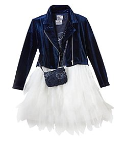 Beautees Girls' 4-6X 2 Piece Moto Jacket And Fairy Dress