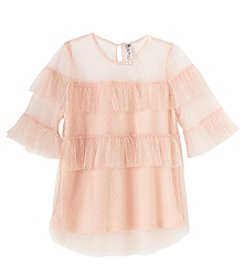 Beautees Girls' 7-16 Ruffle Sleeve Top With Mesh Neckline