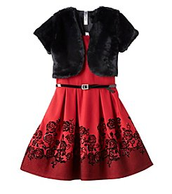 Beautees Girls' 7-16 Dress With Fur Shrug