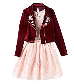 Beautees Girls' 7-16 Dress And Moto Jacket