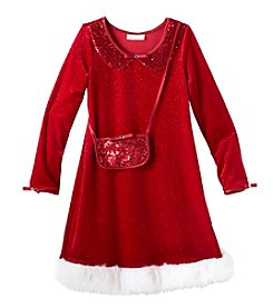 Gerson Girls' 4-16 Sparkle Santa Dress