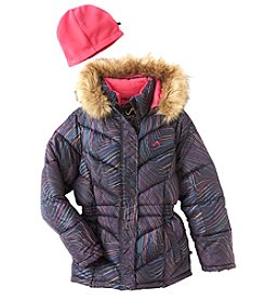 Weatherproof® Girls' 7-16 Puffer Jacket With Faux Fur Trim