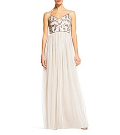 Adrianna Papell® V-Neck Beaded Bodice Dress