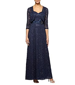 Alex Evenings® Long Lace Dress with Jacket