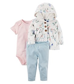 Carters Baby Girls' 3 Piece Bodysuit, Pants and Floral Cardigan Set