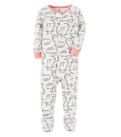 Carter's Girls' 12M-4T Cat Print One Piece Pajamas