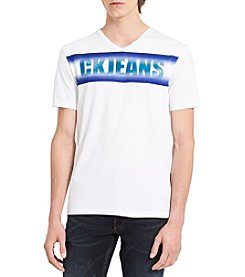 Calvin Klein Men's CKJ Linear Gradient Short Sleeve V-Neck Tee Shirt