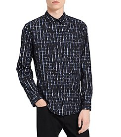 Calvin Klein Men's Crackle Long Sleeve Button Down