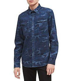 Calvin Klein Men's Camo Denim Long Sleeve Button Down
