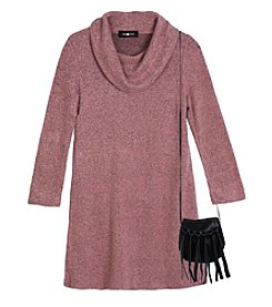 A. Byer Girls' 7-16 Long Sleeve Sweater Dress With Bag
