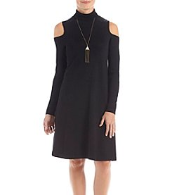 AGB Mock Neck Cold Shoulder Sweater Dress