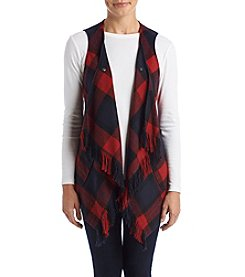 Democracy Navy And Red Plaid Fringe Vest
