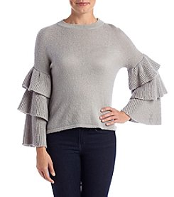 Cupio Tier Ruffle Sleeve Sweater Top