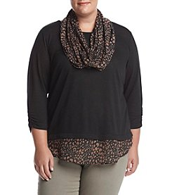 AGB® Plus Size Drape Neck Top