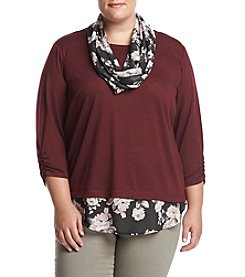 AGB® Plus Size Layered Look Floral Accent Top