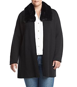 Kasper Plus Size Black Fur Trim Cardigan Sweater