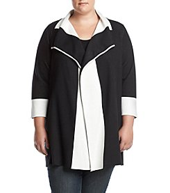Kasper Plus Size Black/White Waterfall Long