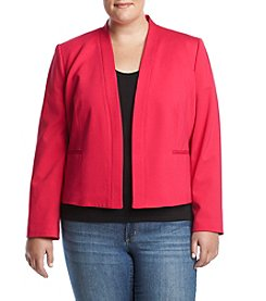Nine West Plus Size Oct Solid Ponte Kiss Front Jacket