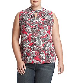 Nine West Plus Size Printed Keyhole Crepe Blouse