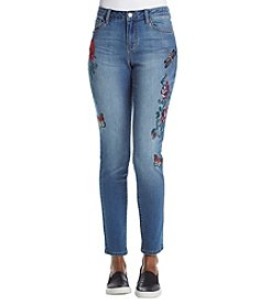 Earl Jean Floral And Bug Embroidery Detail Skinny Jeans