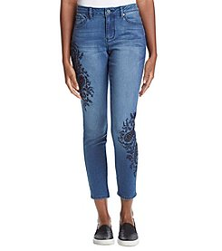 Earl Jean Paisley Embroidered Jeans
