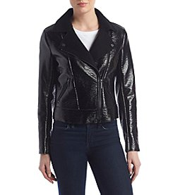 Kenneth Cole New York Patent Leather Moto Jacket