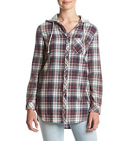 Hippie Laundry Hooded Plaid Button Down