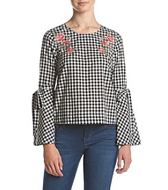 Hippie Laundry Gingham Bell Sleeve Embroidered Peasant Blouse