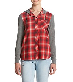Hippie Laundry Plaid Front Hoodie