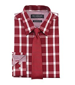 Nick Graham Men's Buffalo Checked Regular Fit Dress Shirt and Tie Set