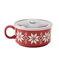 Boston Warehouse Red Holiday Knit 22-oz. Souper Mug with Lid