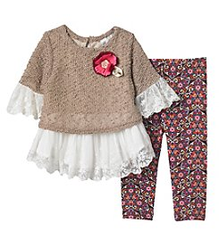 Rare Editions Baby Girls' 2 Piece Sweater And Leggings Set