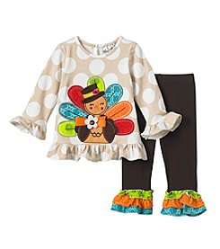 Rare Editions Baby Girls' 2 Piece Top And Dot Leggings Set