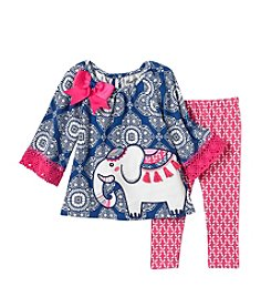 Rare Editions Baby Girls' 2 Piece Medallion Print Set