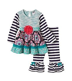 Rare Editions Baby Girls' 2 Piece Top And Leggings Set
