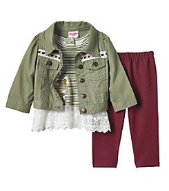 Nannette Baby Girls' 3 Piece Jacket, Top And Leggings Set