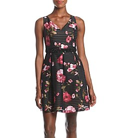 Adrianna Papell Printed Ribbon Fit And Flare Dress
