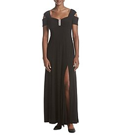 R&M Richards Petites' Cold Shoulder Maxi Length Jewel Detail Dress