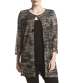 Kasper Plus Size Marled Hook And Eye Closure Cardigan