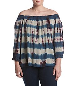 Hippie Laundry Plus Size Tie Dye Off-Shoulder Peasant Top