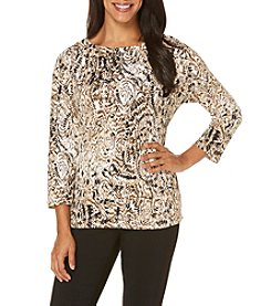 Rafaella® Petites' Safari Print Knit Top With Gold Accents
