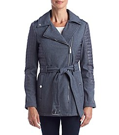 MICHAEL Michael Kors® Asymmetrical Zipper Coat With Quilting And Belt