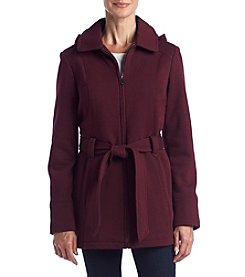 Jones New York® Zip Fleece Coat With Hood And Belt