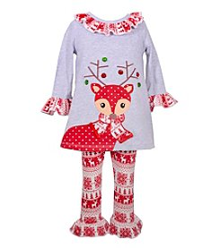 Bonnie Jean® Girls' 12M-6X Long Sleeve Reindeer Dress With Knit Pants