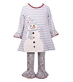 Bonnie Jean® Girls' 12M-6X Striped Snowman Dress With Pants