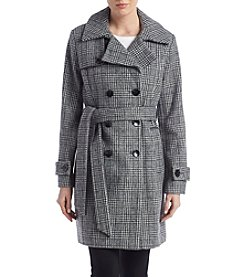 Anne Klein Plaid Belted Walker Coat