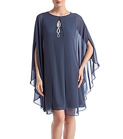 S.L. Fashions Jewel Detail Cape Dress