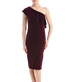 S.L. Fashions Wine One Shoulder Velvet Dress