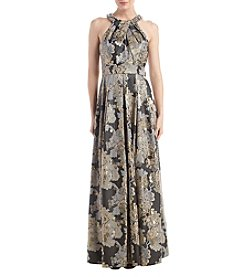 Eliza J Jewel And Pearl Detail Floral Print Pleated Gown