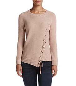 Ivanka Trump Asymmetrical Lace Up Sweater